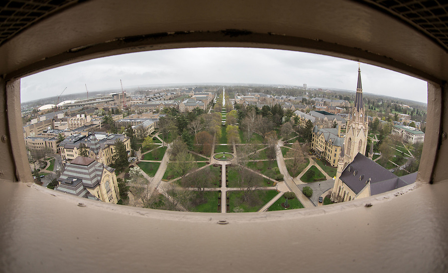 Apr. 22, 2015; View from the cupola of the Main Building. (Photo by Matt Cashore/University of Notre Dame)