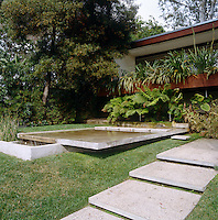 In the luxuriant garden concrete steps lead up to a shallow reflecting pool