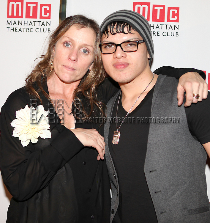 Frances McDormand & son Pedro Cohen.attending the Opening Night Performance After Party for the Manhattan Theatre Club's 'Good People'  in New York City.
