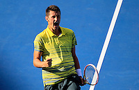 Bernard Tomic of Australia reacts after winning a point against Sergiy Stakhovsky of Ukranie during their semi-final match at the Sydney International tennis tournament, Jan. 10, 2014.  Daniel Munoz/Viewpress IMAGE RESTRICTED TO EDITORIAL USE ONLY