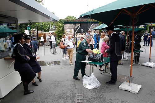 01.07.2016. All England Lawn Tennis and Croquet Club, London, England. The Wimbledon Tennis Championships Day Five. Tight security and baggage checks in place for spectators entering the grounds today.