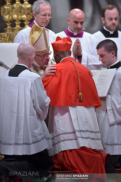 Cardinal Jean Zerbo from Mali;Pope Francis leads a consistory for the creation of five new cardinals  at St Peter's basilica in Vatican.  from countries  : El Salvador, Laos, Mali,Sweden and Spain.<br /> Cardinal Gregorio Rosa Chavez from Salvador;Cardinal Louis-Marie Ling Mangkhanekhoun from Laos;Cardinal Anders Arborelius from Sweden;Cardinal Jean Zerbo from Mali;Cardinal Juan José Omella of Spainon June 28, 2017