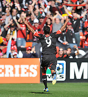 Rafael Teixeira (9) of D.C. United celebrates his score in the 22th minute of the game. The Columbus Crew defeated D.C. United  2-1, at RFK Stadium, Saturday March 23, 2013.