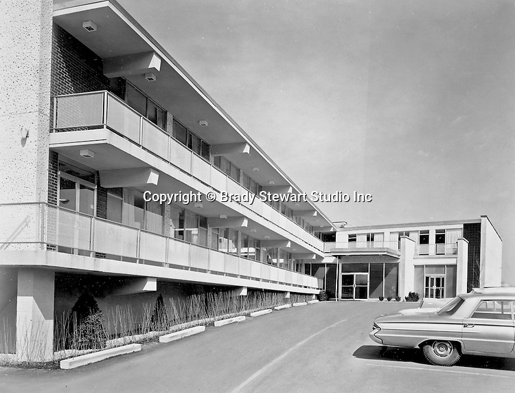 Pittsburgh PA:  View of a new Howard Johnson Motor Inn - 1967.  Assignment was for a local advertising agency and the print was retouched to take out the clouds