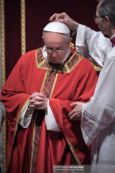 Pope Francis the ceremony of the Good Friday Passion of the Lord Mass in Saint Peter's Basilica at the Vatican March 29, 2013