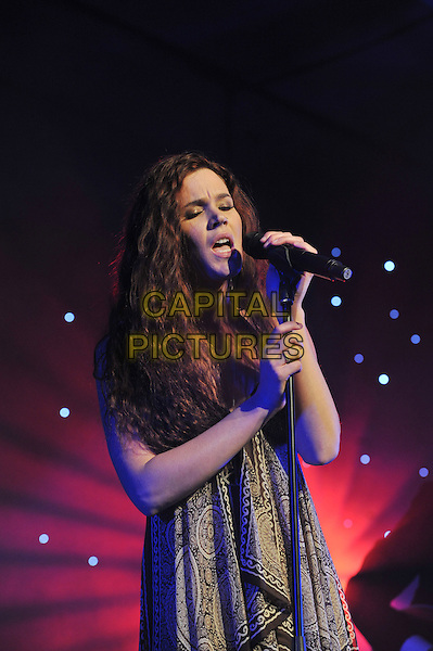 Joss Stone.'Global Angels Awards', The Park Plaza Hotel, Westminster, London, England. 2nd December 2011..music on stage live concert gig performing half length microphone   brown print scarf paisley dress singing .CAP/MAR.© Martin Harris/Capital Pictures.