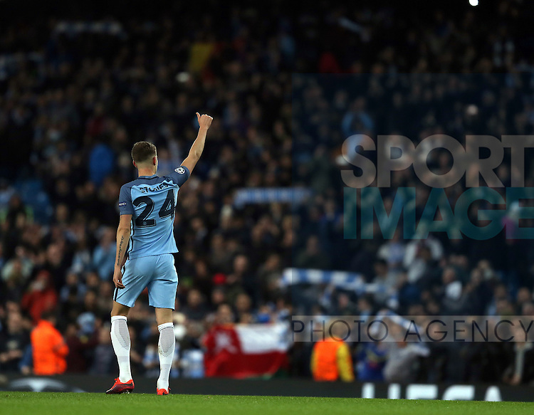 John Stones of Manchester City acknowledges the fans during the Champions League Group C match at the Etihad Stadium, Manchester. Picture date: November 1st, 2016. Pic Simon Bellis/Sportimage