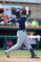 New Hampshire Fisher Cats outfielder Brian Van Kirk #12 during a game against the Erie Seawolves on June 9, 2013 at Jerry Uht Park in Erie, Pennsylvania.  New Hampshire defeated Erie 3-2.  (Mike Janes/Four Seam Images)