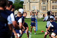 Gabriel Oghre of Bath Rugby looks to throw into a lineout. Bath Rugby pre-season training session on August 9, 2016 at Farleigh House in Bath, England. Photo by: Patrick Khachfe / Onside Images