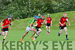 In Action Lixnaw's John Buckley gets away from Ballyheigue's Tommy O'Connor, Colin O'Mahony and Mark Regan   in the Garvey's Super value Senior County Hurling Championship, Round 1 Ballyheigue V Lixnaw at the Abbeydorney GAA pitch on Friday
