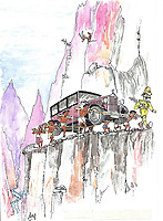 BNPS.co.uk (01202 558833)<br /> Pic: Bonhams/BNPS<br /> <br /> A sketch of the tortuous delivery across the Himalayas.<br /> <br /> A Maharaja's motor which was carried hundreds of miles across the Himalayas to him has emerged for sale for £40,000.<br /> <br /> The 1926 Crossley's first owner was Maharaja Juddha Shamsher Jang Bahadur Rana, who had it shipped out from the manufacturer's Manchester factory to exotic Calcutta in India.<br /> <br /> Since there was only two miles of road which could be driven in Nepal, the classic car was carried over the mountainous landscape by his unfortunate porters.<br /> <br /> It was used by successive Rana family rulers, who styled themselves as 'heriditary Prime Ministers of Nepal', before leaving the country in 1968, finding a new home in Salt Lake City, US.<br /> <br /> This burgundy model, the 20.9HP Canberra Landaulette, is believed to be the only surviving example of its type in the world. It is going under the hammer with auction house Bonhams, of London.