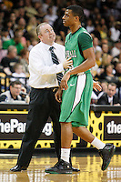 January 5, 2011: Marshall head coach Tom Herrion has some words for Marshall guard Shaquille Johnson (23) on a time out during first half Conference USA NCAA basketball game action between the Marshall Thundering Herd and the Central Florida Knights at the UCF Arena Orlando, Fl..