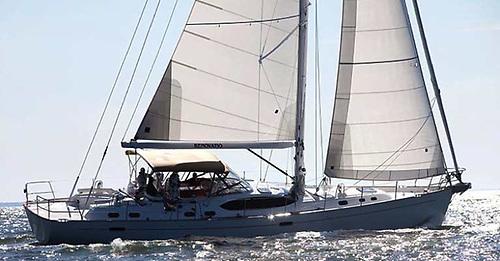 Quantum Cross cut Dacron sails—note panels parallel to foot