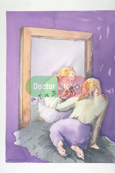 girl writing the word dyslexia in mirror