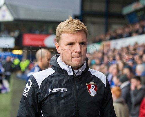 03.04.2015.  Ipswich, England. Skybet Championship. Ipswich Town versus AFC Bournemouth. Eddie Howe, the Bournemouth manager takes his seat before the game.