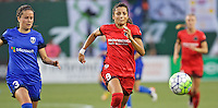Portland, OR - Saturday July 30, 2016: Nadia Nadim, Lauren Barnes during a regular season National Women's Soccer League (NWSL) match between the Portland Thorns FC and Seattle Reign FC at Providence Park.