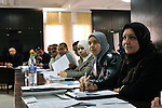 "MEDENINE - TUNISIA - 14 March 2012 -- European Training Foundation (ETF) / Tunisian Ministry of Vocational Training and Employment (MFPE) -  ""Human Capital for Regional Socio-Economic Development (Medenine, Tunisia)"" - Project Launch Workshop - Workshop attendees, including Abderrazak SOUAI, Gabes University (Center, white headscarf), listen to the workshop presentation -- PHOTO: Lindsay MACKENZIE / EUP-IMAGES.."