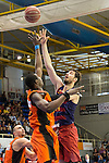 Montakit Fuenlabrada's Moussa Diagne FC Barcelona Lassa's Aleksandar Vezenkov during the match of Endesa ACB League between Fuenlabrada Montakit and FC Barcelona Lassa at Fernando Martin Stadium in fuelnabrada,  Madrid, Spain. October 30, 2016. (ALTERPHOTOS/Rodrigo Jimenez)