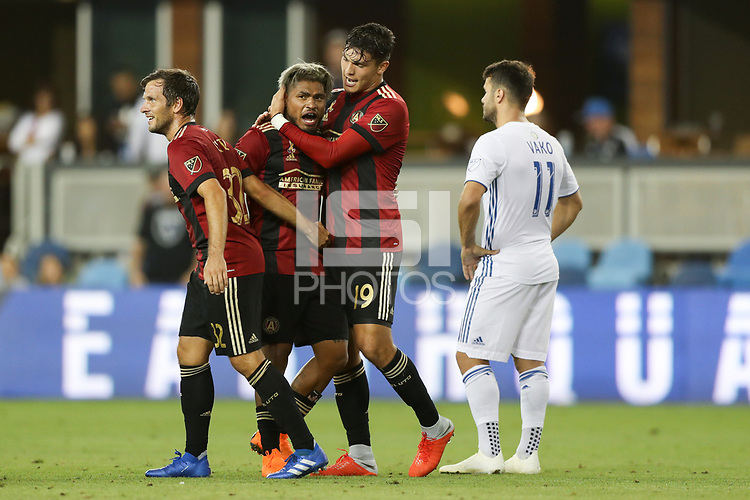 San Jose, CA - Wednesday September 19, 2018: Josef Martinez, Brandon Vazquez during a Major League Soccer (MLS) match between the San Jose Earthquakes and Atlanta United FC at Avaya Stadium.