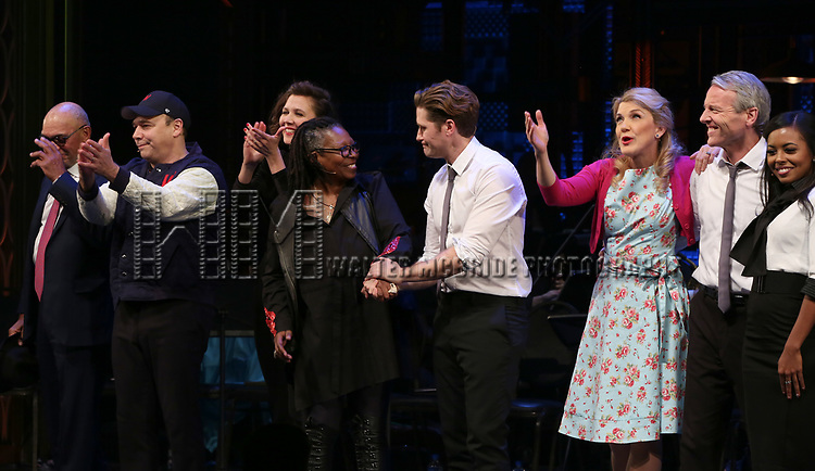 Reggie Jackson, Danny Burstein, Maggie Gyllenhaal, Whoopi Goldberg, Matthew Morrison, Victoria Clark, Adrienne Warren and cast during the Curtain Call for the Roundabout Theatre Company presents a One-Night Benefit Concert Reading of 'Damn Yankees' at the Stephen Sondheim Theatre on December 11, 2017 in New York City.
