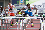 EUGENE, OR - JUNE 09: Grant Holloway of the University of Florida competes in the 110 meter hurdles during the Division I Men's Outdoor Track & Field Championship held at Hayward Field on June 9, 2017 in Eugene, Oregon. Holloway won the event with a 13.49 time. (Photo by Jamie Schwaberow/NCAA Photos via Getty Images)
