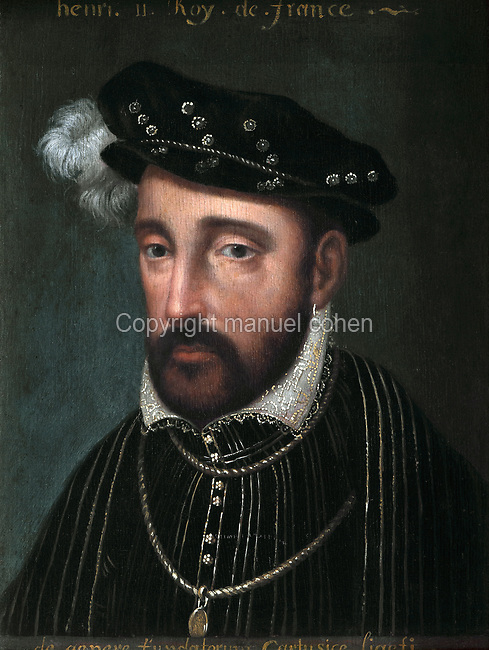 Portrait of Henri II, 1519-59, oil painting on canvas, 17th century, by French School, in the Galerie de la Reine or Queen's Gallery, decorated in 16th century Renaissance style and restored by Felix Duban in 1861-66, on the first floor of the Francois I wing, built early 16th century in Italian Renaissance style, at the Chateau Royal de Blois, built 13th - 17th century in Blois in the Loire Valley, Loir-et-Cher, Centre, France. The gallery overlooks the gardens and houses an important portrait collection. It was used for walking and entertaining, with music, theatre, games and dance playing an important role. The chateau has 564 rooms and 75 staircases and is listed as a historic monument and UNESCO World Heritage Site. Picture by Manuel Cohen