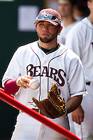 Aaron Conway (11) of the Missouri State Bears stands in the Bears dugout during a game against the Wichita State Shockers on April 9, 2011 at Hammons Field in Springfield, Missouri.  Photo By David Welker/Four Seam Images