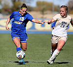 BROOKINGS, SD - OCTOBER 9:  Nicole Hatcher #10 from South Dakota State University controls the ball past Maria Stordahl #28 from Oral Roberts during their game Sunday afternoon at Fischback Park in Brookings. (Photo by Dave Eggen/Inertia)