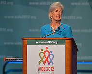 July 22, 2012  (Washington, DC)  Kathleen Sebelius, U.S. Secretary of Health And Human Services, address the opening plenary session of the 2012 International AIDS Conference.    (Photo by Don Baxter/Media Images International)