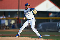 Burlington Royals starting pitcher Delvin Capellan (37) in action against the Pulaski Yankees at Burlington Athletic Stadium on August 25, 2019 in Burlington, North Carolina. The Yankees defeated the Royals 3-0. (Brian Westerholt/Four Seam Images)