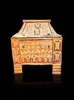 Minoan  pottery gabled larnax coffin chest with double axe and papyrus decorations,  Anthanatoi 1370-1250 BC, Heraklion Archaeological  Museum, black background.