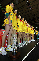 16.11.2007 Australia celebrate after the Silver Ferns v Australia Final at the New World Netball World Champs held at Trusts Stadium Auckland New Zealand. Mandatory Photo Credit ©Michael Bradley. ***POOL IMAGE - FOR EDITORIAL USE ONLY***