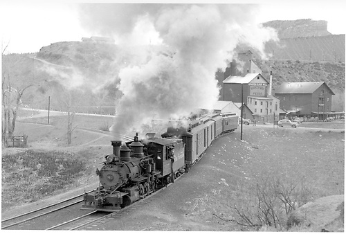D&amp;RGW #345 switching the San Juan in Durango yard.<br /> D&amp;RGW  Durango, CO  Taken by Peyton, Ernie S. - 3/27/1950