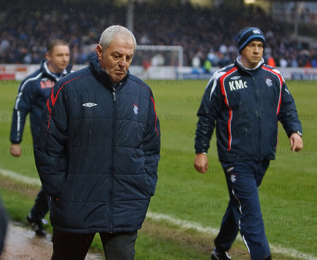 A disconsolate Walter Smith trudges off with Ally McCoist and Kenny McDowall after being held to a draw by Dundee Utd at Tannadice