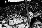 Potosi, Bolivia. A woman outside a drugstore.