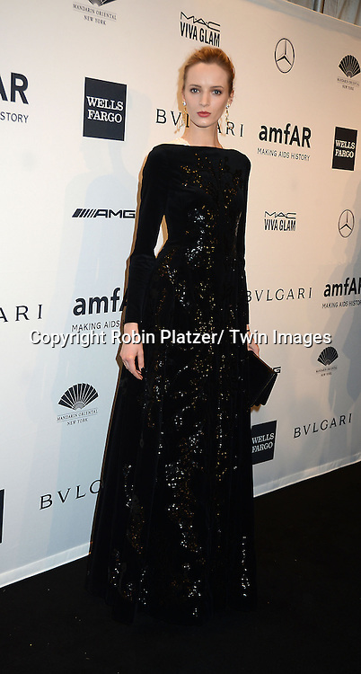 Daria Strokous attends the amfAR New York Gala on February 5, 2014 at Cipriani Wall Street in New York City.
