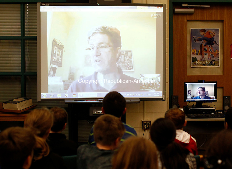 Middlebury, CT- 08 May 2014-050814CM02-   Children's Poet Laureate, Kenn Nesbitt, talks with  Benjamin Ecsedy, a Long Meadow Elementary School 5th grader and his class via Skype in Middlebury on Thursday. Ecsedy won the Time for Kids national poetry contest, with the grand prize being a live Skype call from the author.   Christopher Massa Republican-American