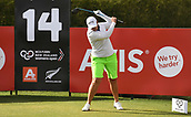28th September 2017, Windross Farm, Auckland, New Zealand; LPGA McKayson NZ Womens Open, first round;  USA's Angela Stanford loses the plot on the 14th tee