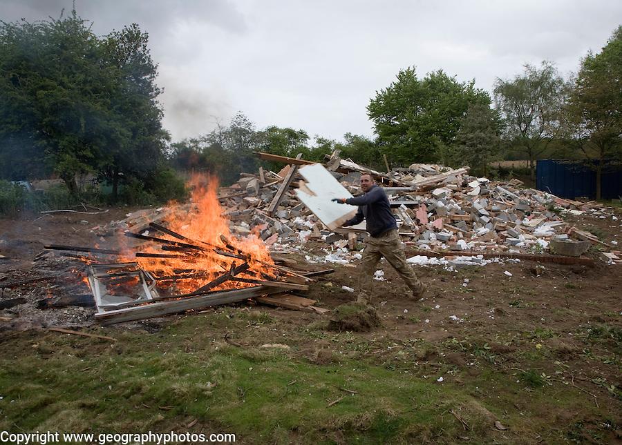 House being demolished, Shottisham, Suffolk, England