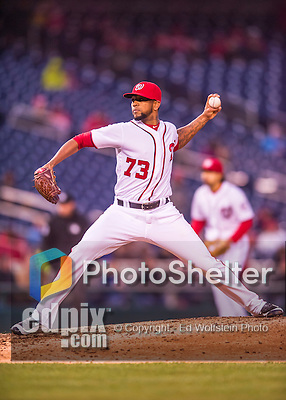 28 April 2016: Washington Nationals pitcher Felipe Rivero on the mound against the Philadelphia Phillies at Nationals Park in Washington, DC. The Phillies shut out the Nationals 3-0 to sweep their mid-week, 3-game series. Mandatory Credit: Ed Wolfstein Photo *** RAW (NEF) Image File Available ***
