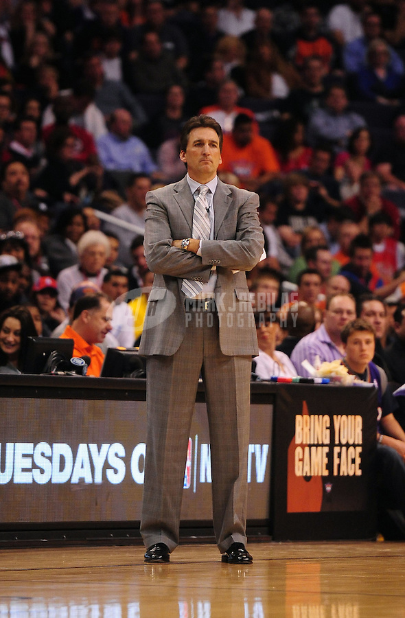 Mar. 2, 2012; Phoenix, AZ, USA; Los Angeles Clippers head coach Vinny Del Negro observes game against the Phoenix Suns at the US Airways Center. The Suns defeated the Clippers 81-78. Mandatory Credit: Mark J. Rebilas-USA TODAY Sports