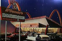 "Strip Architecture:  McDonald's , 1950's by Dennis Ziemienski,  Illustration ""Burgers, Shakes"" .  Philip Langdon,  ATLANTIC, Dec. '85."