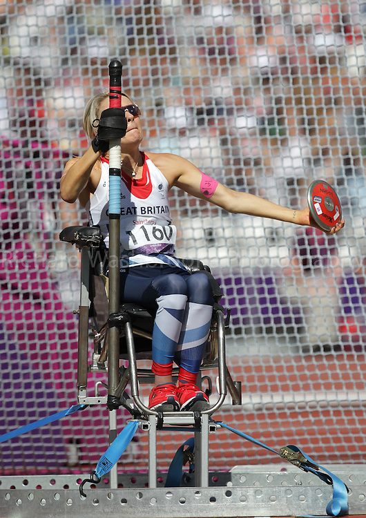 Paralympics London 2012 - ParalympicsGB - Athletics Women's Discus Throw - F51/52/53 Final held at the Olympic Stadium  7th September 2012..Josie Pearson competing in the Women's Discus Throw - F51/52/53 Final held at the Olympic Stadium  7th September 2012 at the Paralympic Games in London. Photo: Richard Washbrooke/ParalympicsGB
