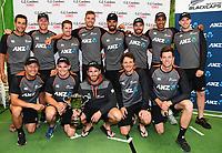 3rd December, Hamilton, New Zealand;  NZ winning team photo after day 5 of the 2nd test cricket match between New Zealand and England at Seddon Park, Hamilton, New Zealand.