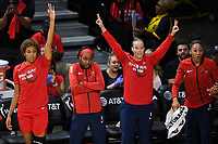 Washington, DC - Sept 17, 2019: Washington Mystics bench goes crazy after a three point basket during WNBA Playoff semi final game between Las Vegas Aces and Washington Mystics at the Entertainment & Sports Arena in Washington, DC. The Mystics hold on to beat the Aces 97-95. (Photo by Phil Peters/Media Images International)