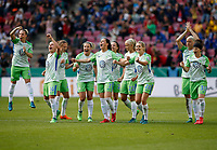 Football, Koeln, Germany , DFB-Pokalfinale wifeen,, <br />VFL Wolfsburg (WOB ) vs. FC Bayern M Muenchen 3-2 n.E.  Rhein-Energie stadium  in Koeln19. 05. 2018<br />Isabel KERSCHOWSKI (VFL),Zsanett JAKABFI (VFL), Ella MASAR (VFL), Noelle MARITZ (VFL), Caroline GRAHAM HANSEN (VFL), Joelle  WEDEMEYER (VFL) , Sara Bjšrk GUNNARSDOTTIR (VFL),Pernille HADER (VFL), Lena GOESSLING(VFL) , v.n.- <br /><br /><br /> *** Local Caption *** © pixathlon<br /> Contact: +49-40-22 63 02 60 , info@pixathlon.de