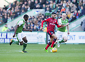 4th November 2017, Easter Road, Edinburgh, Scotland; Scottish Premiership football, Hibernian versus Dundee; Dundee's Faissal El Bakhtaoui races between Hibernian's Efe Ambrose and David Gray