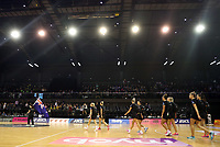 18.10.2018 Silver Ferns in action during the Silver Ferns v Australia netball test match at the TSB Arena in Wellington. Mandatory Photo Credit ©Michael Bradley.