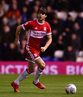 Geroge Friend of Middlesbrough in action during the Sky Bet Championship match between Birmingham City and Middlesbrough at St Andrews, Birmingham, England on 6 March 2018. Photo by Bradley Collyer / PRiME Media Images.