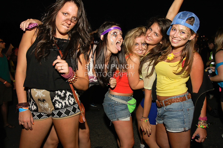 Fans enjoying the Moby DJ set at during the Electic Zoo Festival 2011 at Randell's Island, September 2, 2011.